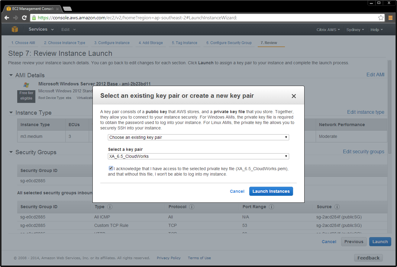 7. Choose an existing AWS