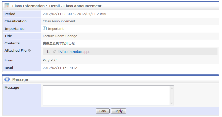 6.1 How to check class announcements 1. Click [Class Announcement] to display the announcements. 2. Click the title of the announcement to see the details. 3.