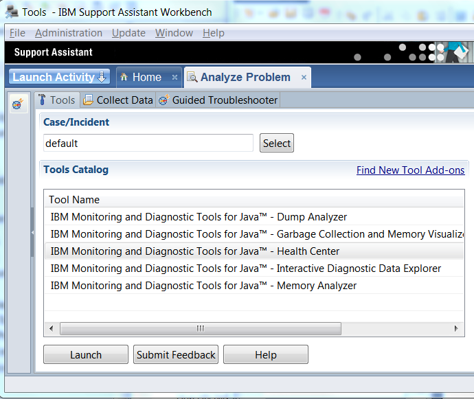 How to launch the client In IBM Support Assistant go to the Home tab