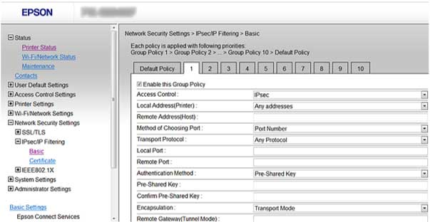Configuring Group IPsec/IP Filtering Policies You can configure group policies for IPsec/IP traffic filtering using Web Config. 1. Access Web Config and select Network Security Settings. 2.