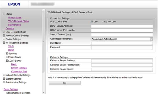 1. Access Web Config and select Wi-Fi/Network Settings. 2. Select LDAP Server and select Basic. You see a window like this: 3. Select Use as the Use LDAP Server setting.
