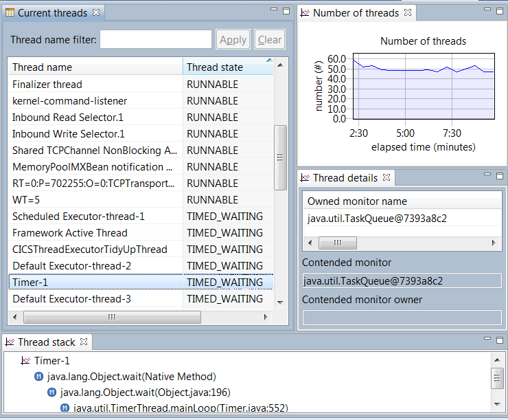 Health Center Threads view List of current threads and states Deadlock detection and analysis Number of