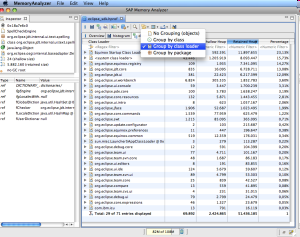 Memory Analyzer Overview: Overview of the heapdump including size and total number of objects.