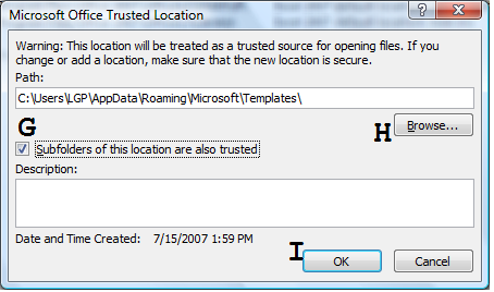 The Excel Options Window 3. Click Trust Center on the left (B) then press the Trust Center Settings button (C). The Trust Center window 4. Click Trusted Locations on the left (D).