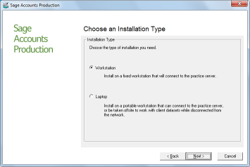 Installation Guide 6. Click Next. The Choose an Installation Type page appears. Specify whether you want the computer to be a 'workstation' or a 'laptop'.