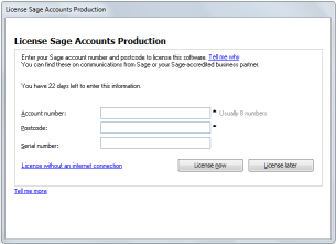 A Licensing the Software Your Sage Accounts Production licence entitles you to: a maximum number of concurrent users a maximum number of clients in the network client list When you launch Sage