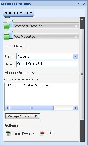 Intuit Statement Writer Column and Row Properties Column Properties: full control over naming Row