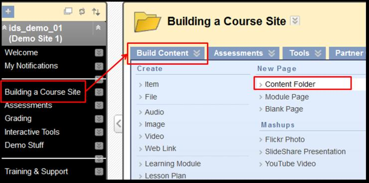 3. Add Content 3.1. Menu Item Add Menu Item: Click the blue box with a plus sign at the top of your course menu. From the dropdown, select the type of link to add to the menu.