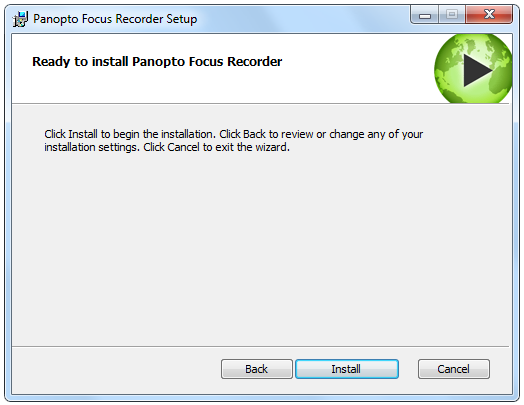 Create Video Lectures with Panopto 6. The installer will self-extract and begin the installation. 7. Select a destination folder to install the recorder to. 8. Enter the Storage location hard drive.