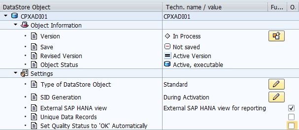 Export DSO Model to HANA Option in DSO modeling is new as of 7.