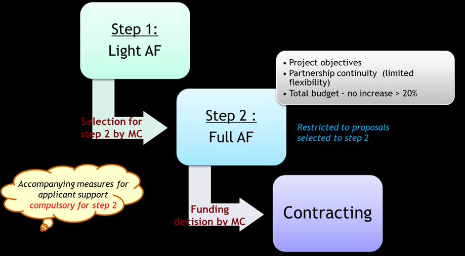 I. Application procedure The application procedure for the first call for proposals is organised in two steps: Figure 1: 2-step application procedure Step 1 submission of the light application form