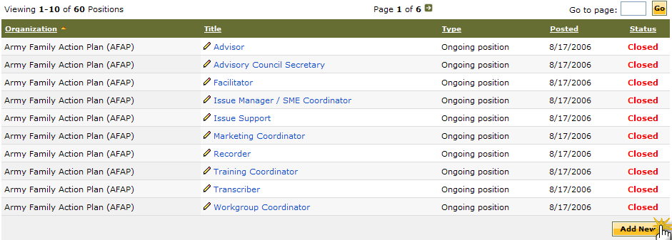 Download a Position To download a volunteer position description to Word, click a Title link. The Manage Organization Position screen is displayed (See fig. 6.5).