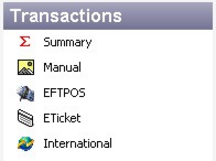 Transactions Navigation The Transactions pane contains all