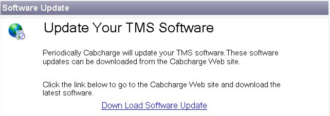 Software Update Periodically the TMS software may be