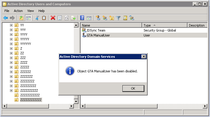 Disable User In AD 1.