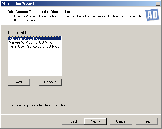 ADtoolkit 334 On the Select a Server dialog, select/highlight the share and path to be used. Select the OK button to close the dialog and return to the Select a Distribution Location screen.