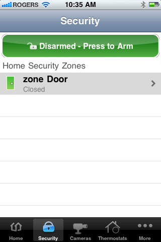 How do I arm from the iphone app? 1. From the Main screen tap Security. The Security screen appears.