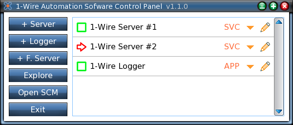 1 Overview The control panel application offers a convenient way of configuring and running the server and logger programs of the 1-Wire Automation Software in Windows operating systems.