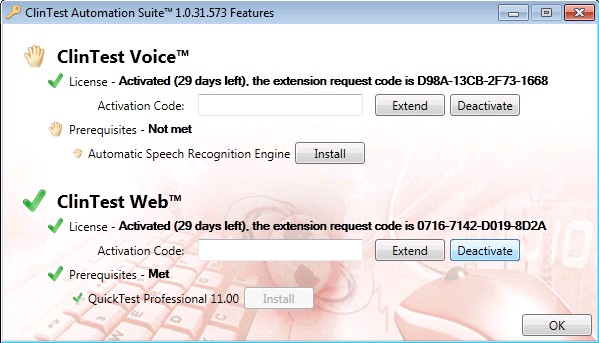 1.9 Enter your Voice and/or Web Activation Request Code you received and click the Activate button. 1.