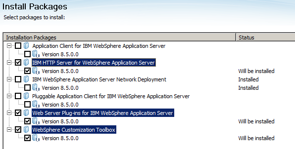 10. On the Install Packages screen check the box next to the following options: IBM HTTP Server for WebSphere Application Server Web Server Plug-ins for IBM