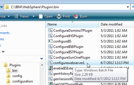 28. Find the file 'configurewebserver1.bat' in the directory. Check that you find the correct file as there are several that start with 'configure...'. The file extension may be hidden from you depending on your Windows settings.