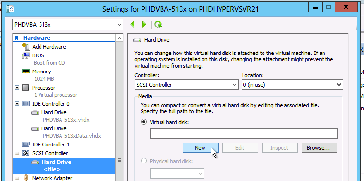 Chapter 3 PHDVB Administration Tasks 3. Click Hard Drive, then click Add. 4.