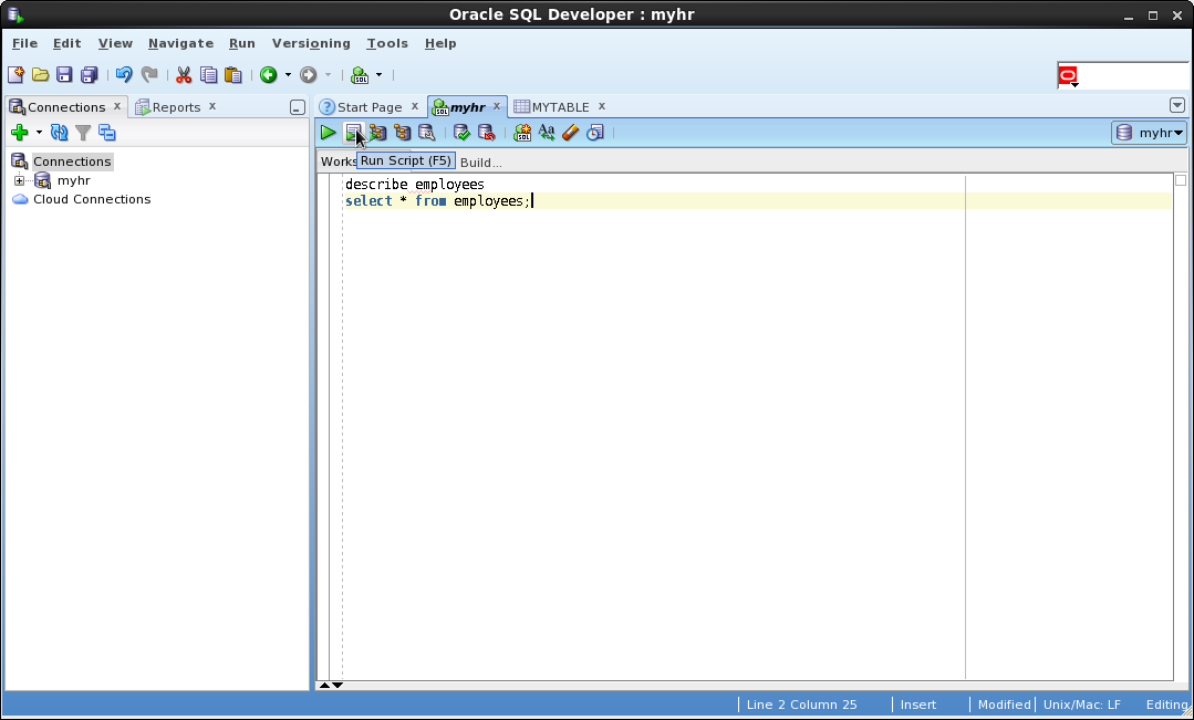 connect identifier in oracle sql developer