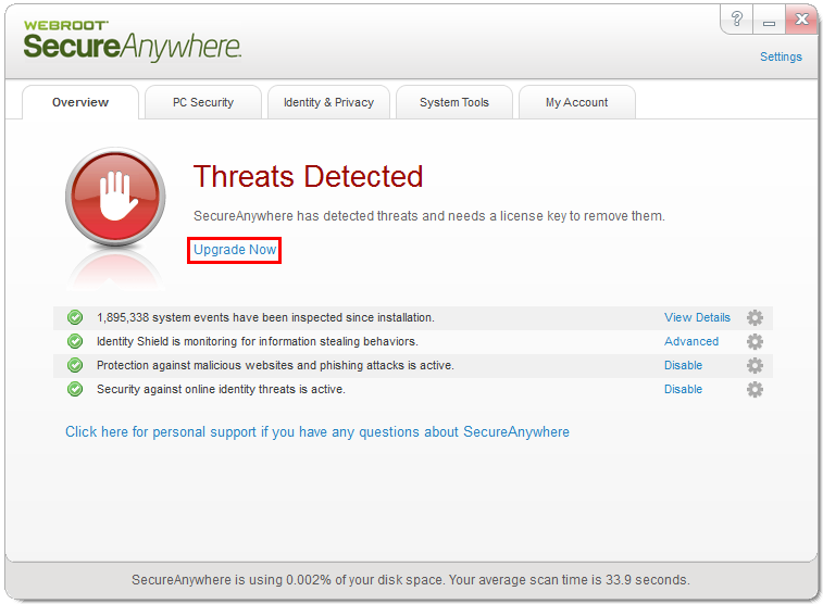 What happens if my Webrt SecureAnywhere Identity Shield detects a threat?