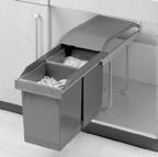 "Plastic waste bins (0L and 8L) Weak height of 398 mm (5-3/4"") ideal for installation under the kitchen sink Manual opening for optimization of space Tested at 40 000 cycles with a weight of 7 kg"