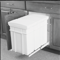 Plastic waste bins (0L) Ideal for installation under the kitchen sink Lid remains inside cabinet at the opening to give easy access Can fit an interior width clearance of 36 mm (4-/4 ) Easy to