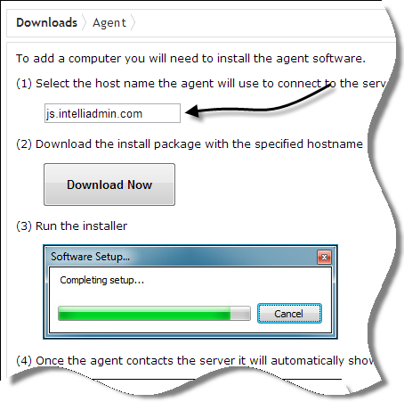 Once you are on the agent download page, take note of the host name that the agent will use to connect to the Enterprise server: This value will be embedded into the download, and is automatically