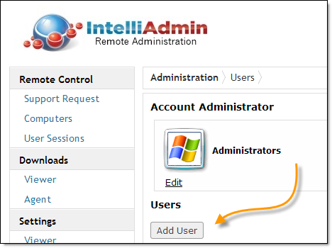 Adding new accounts Adding additional accounts is easy. Click on the add button in the users section: An important point to note is you can add as many accounts as needed.