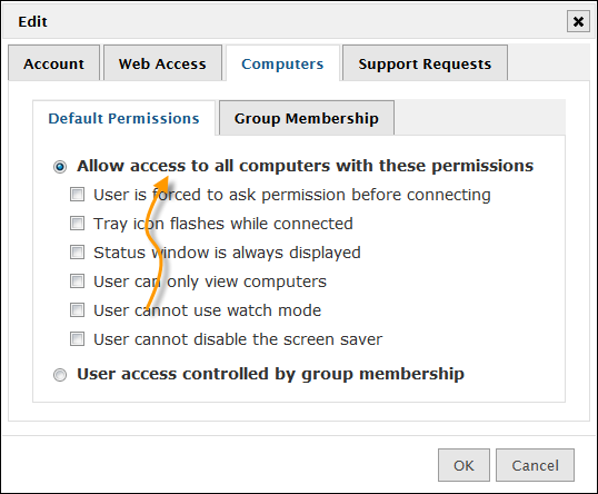 Limiting Computer Access By default, new users are granted access to all computers. Just like support sessions you can set policies that limit that access.