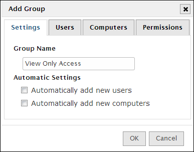 Next, we need to setup a group that will control the users access.