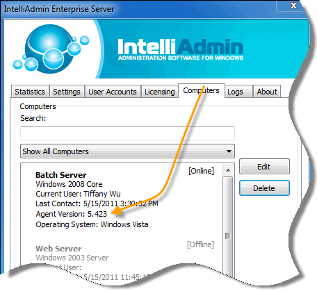 You can check the agent status by going into the Enterprise server settings