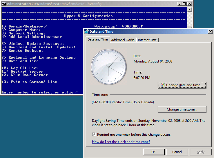 Date and Time 1. Type 9 and press ENTER to configure or modify the Hyper-V Server Date and Time options. 2. You will be presented with the Hyper-V Server Date and Time options dialog box. 3.