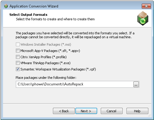 Package Conversion to Symantec Workspace Format In AdminStudio 2013, the following tools support conversion to Symantec Workspace virtual packages: Automated Application Converter Repackager Note In