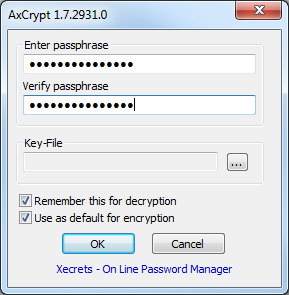 14(18) Encrypt To encrypt a file, right-click it and select Encrypt. You ll be asked to provide a pass phrase and optionally a key-file.