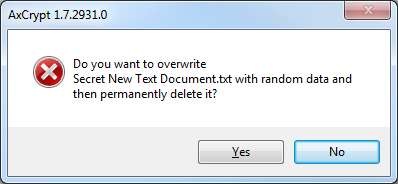 17(18) Click OK or Cancel as the case may be. If you clicked OK your data will now be overwritten with random data before being permanently deleted.