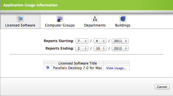 To generate a Licensed Software report: 1. Log in to the JSS with a web browser. 2. Click the Inventory tab. 3. Click the Licensing link above the search field. 4.