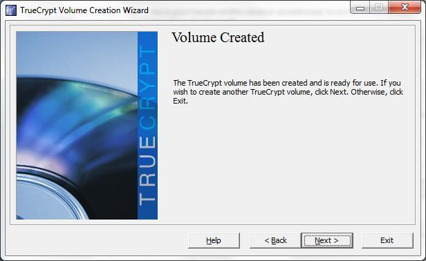 10. A Volume Created screen appears. Select Exit.
