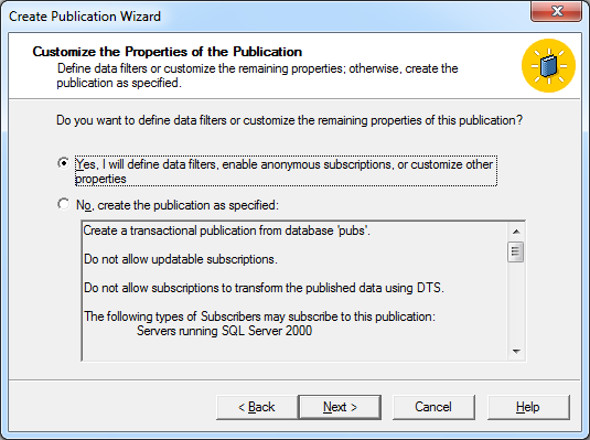 Customize the properties of this publication, select