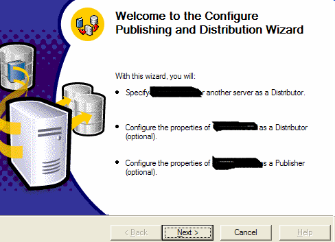 Setup and configure a SQL Server 2000 as a main Publisher/Distributor Click on the Configuring Publishing, subscribes