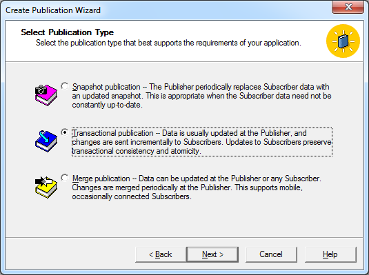 After please select your database and press Next In the Select Publication Type screen