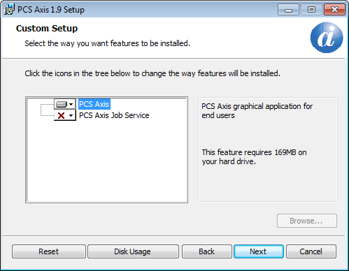 Figure 20. Setup Wizard 5 Click Next to display Custom Setup (Figure 21). 6 By default the PCS Axis application is selected for installation.