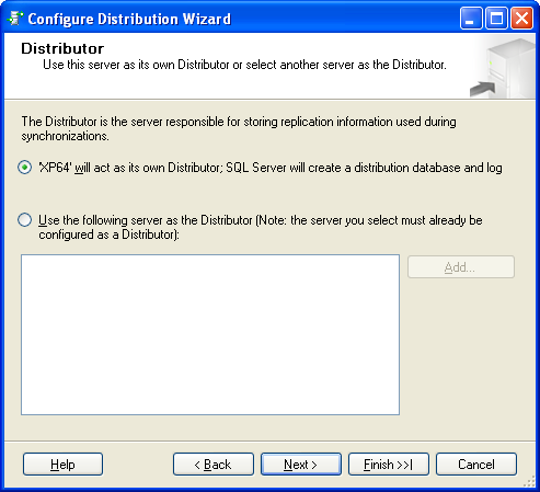 6. The Configure Distribution Wizzard is started: 7. Click on Next 8. The window Configure Distribution Wizard and Distributor appears: 9.