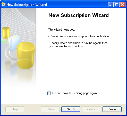 Central subscription configuration on the server You have created a distributor, a publisher as well as an article and a publication. Now you still have to create another subscriber and a schedule. 1.