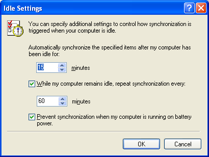 5. During the synchronization, you can specify with a click on the Setup Button, when the replication should be started, e.g. with the login or logoff on the network 6.
