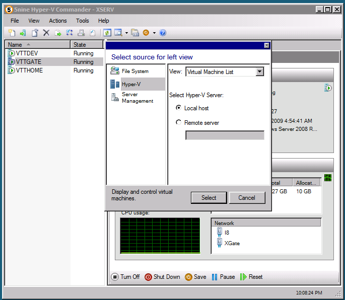 Network Manager Network Manager allows managing virtual networks and network connection bindings on Hyper-V host server. You can open Network Manager using Actions menu item or toolbar button.