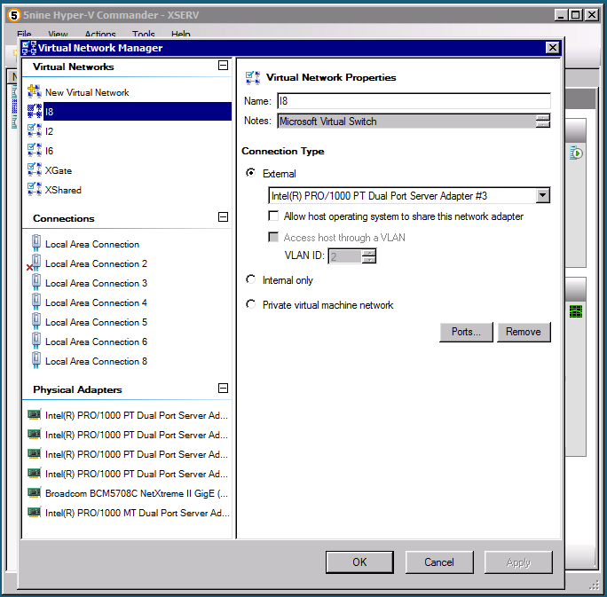 5nine Hyper-V Commander Network Manager provides three groups of items in its left pane: o Virtual Networks contains New Virtual Network item that allows defining of a new external, internal or